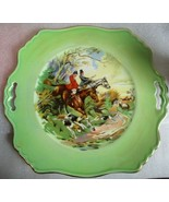 Art Deco  ROYAL WINTON Hunting Scene Cake Plate w Pieced Handles & Gold ... - $24.70