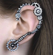 Cognition Steampunk Lots of Gears Ear Wrap Left Earring Alchemy Gothic E388 - $29.95