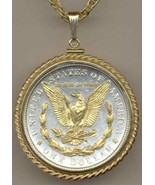 Gold & Silver Old U.S. Silver Dollar Coin Pendant/Necklace/Made in USA - $287.05