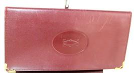 Authentic CARTIER Bordeaux Leather Bifold Long Wallet Purse Made France ... - $107.91