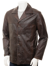 Men's New Brown Sheep Aniline Hide Leather Reefer Jacket QMJ20 - $137.61+