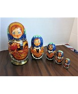 """Russian Semenov Wooden Nesting Dolls - Set Of 5 Made In Russia 5.5"""" Down... - $15.99"""