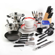 Complete Kitchen Set 83-PC Cookware Red Dinnerware Cooking Utensils Knif... - $99.93