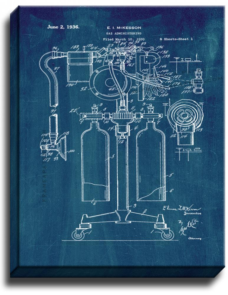 Primary image for Anesthetics Machine Patent Print Midnight Blue on Canvas