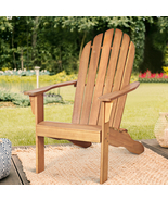Outdoor Solid Wood Durable Patio Adirondack Chair-Natural - Color: Natural - £122.68 GBP