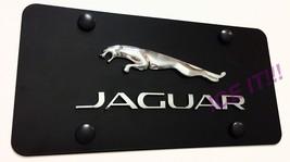 Jaguar Raised Black Stainless Steel Heavy Duty 1mm License plate Frame W Bolts - $38.12