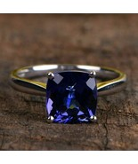2Ct Cushion Cut Blue Sapphire Solitaire Engagement Ring 14K White Gold F... - $77.22
