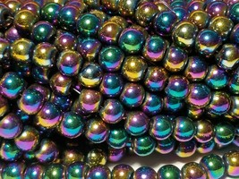 "7mm Rainbow Magnetic Hematite Round Beads 15.5"" Strand"