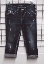 NWOT SILVER Jeans SUKI Mid CAPRI Stretch denim Dark Blue Flap Sequin *25 - $24.99