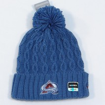 Reebok Avalanche NHL Blue Cable Knit Cuff Pom Pom Beanie Womans One Size... - ₨1,691.65 INR