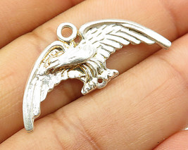 925 Sterling Silver - Vintage Spread Wing Eagle Pendant - P2979 - $21.76