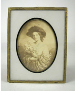 Woman Portrait Lilies Baxter Mounted Glass Photograph C Taber Co New Bed... - $29.69