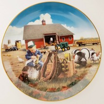 Danbury Mint Too Busy To Play Plate Donald Zolan Collection Little Farmhands - $44.99