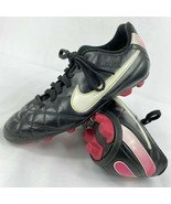 Nike Tiempo Soccer Cleats 509035-016 Black Pink Girls Youth Size 12C Fas... - $6.92
