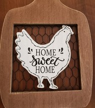 Rooster Wall Art, hanging wood sign, Home Sweet Home, wooden with chicken wire image 2