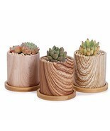 Greenaholics Succulent Pots - 3 Inch Wood Grain Cylinder Ceramic Planters for Sm - $31.44