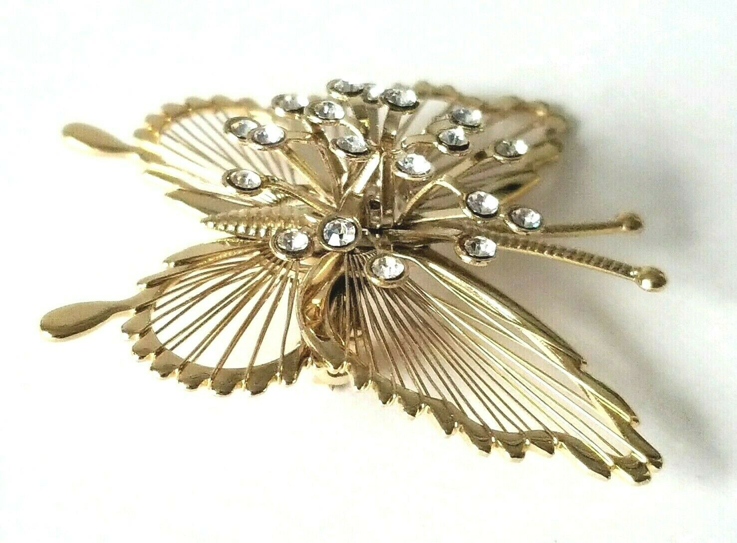 Vintage Signed Monet Gold Tone Butterfly Brooch Pin Clear Crystal Rhinestones