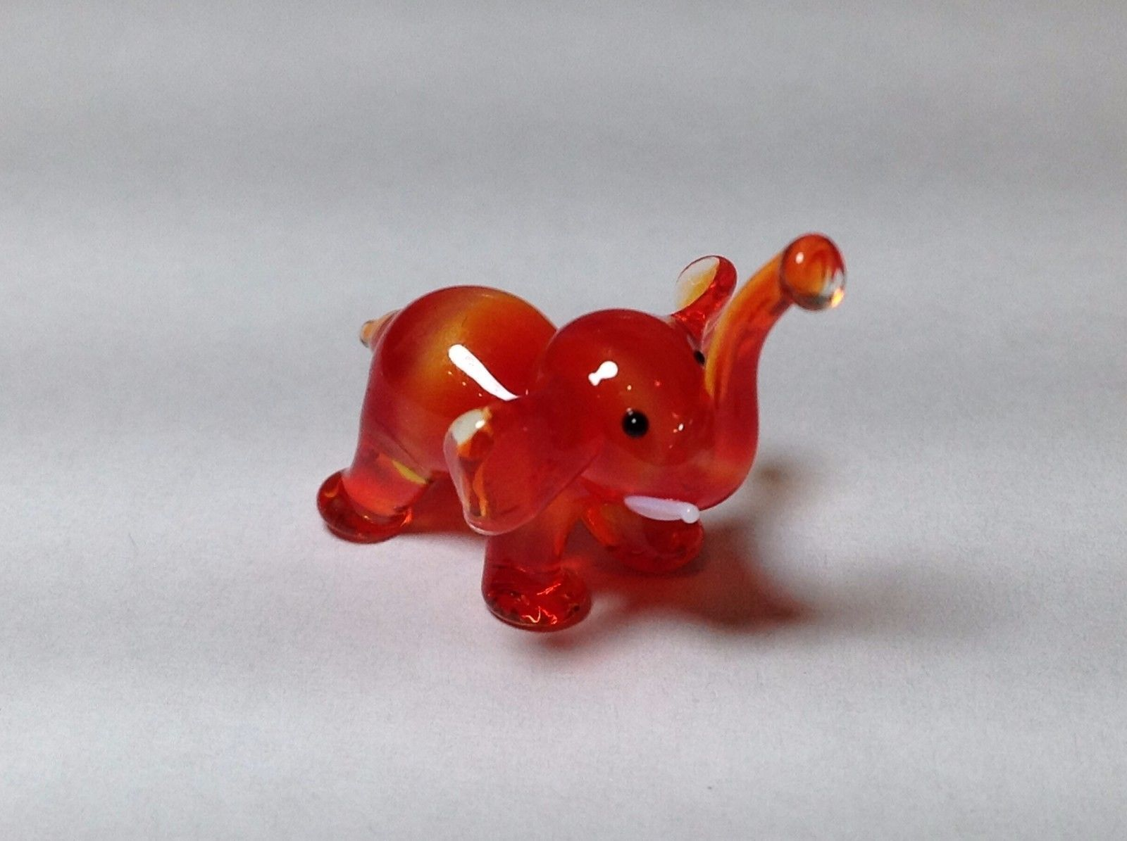 Miniature Glass red orange Elephant Handmade Blown Glass Made USA