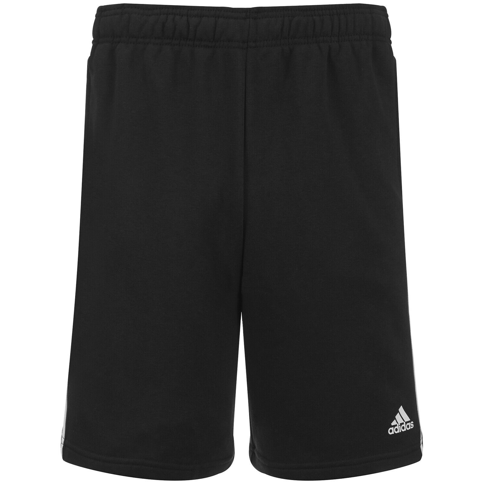 Primary image for Mens Adidas Essential 3 Stripe Fleece Shorts - BLACK - XL - NWT