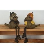 Pair of Birds Shelf Sitters He and She Acorn Pumpkin Autumn Fall Thanksg... - $22.03