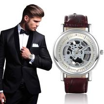 Men's Quartz Skeleton Watch With Leather Band - $23.99