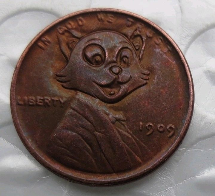Primary image for New Rare New Hobo Nickel 1906 Wheat Penny Tom Cat Street Cat Kitty Hat and Suit