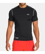 Under Armour UA HeatGear Sonic Fitted Short Sleeve Shirt Black Gray Size... - $8.00