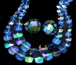 VOGUE Blue 2 Strand NECKLACE Dome EARRINGS Set AB Crystal SQUARE Bead - $29.95
