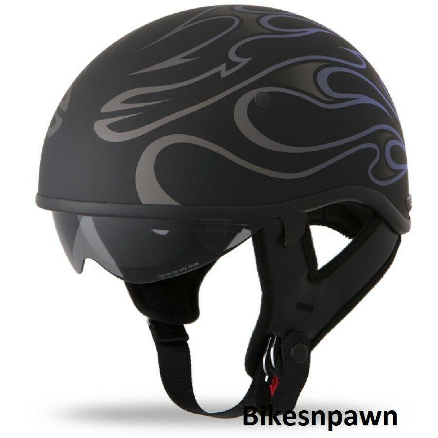 New M Flat Black/Purple Fly Racing DOT Approved .357 Motorcycle Half Helmet