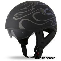 New M Flat Black/Purple Fly Racing DOT Approved .357 Motorcycle Half Helmet image 1