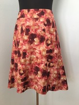Ann Taylor Women A-Line Skirt 10 Red Pink White Brush Stroke Floral Line... - $24.74