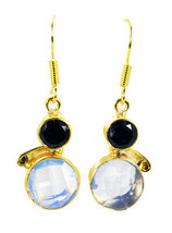pulchritudinous Black Onyx Fire Opal CZ Gold Plated Multi Earring Natural wholes - $14.84