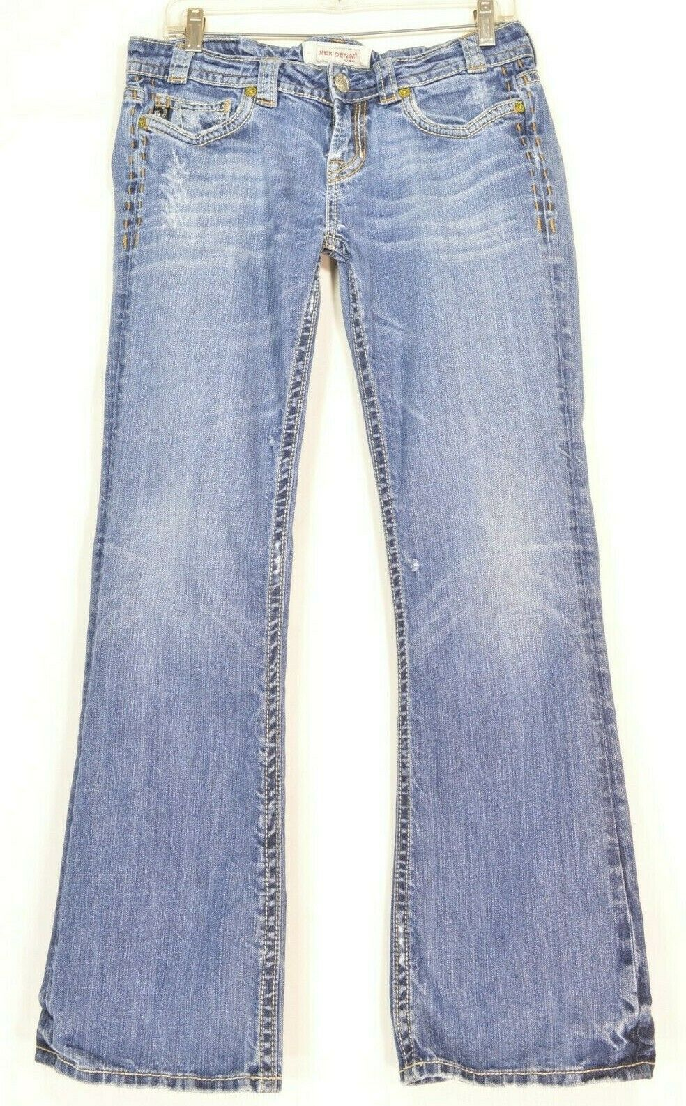 Primary image for MEK jeans Oaxaca 31 x 32.5 flap back pockets distressed rumpled legs bootcut
