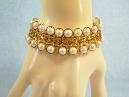 AVON Faux PEARL Gold Plate FILIGREE Cuff Bracelet Vintage Estate Career - $12.86