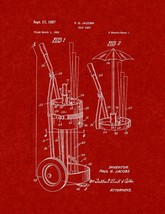 Golf Cart Patent Print - Burgundy Red - $7.95+