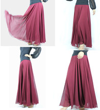 Melon Red Chiffon Skirt High Waisted Beach Chiffon Skirt Plus Size image 9