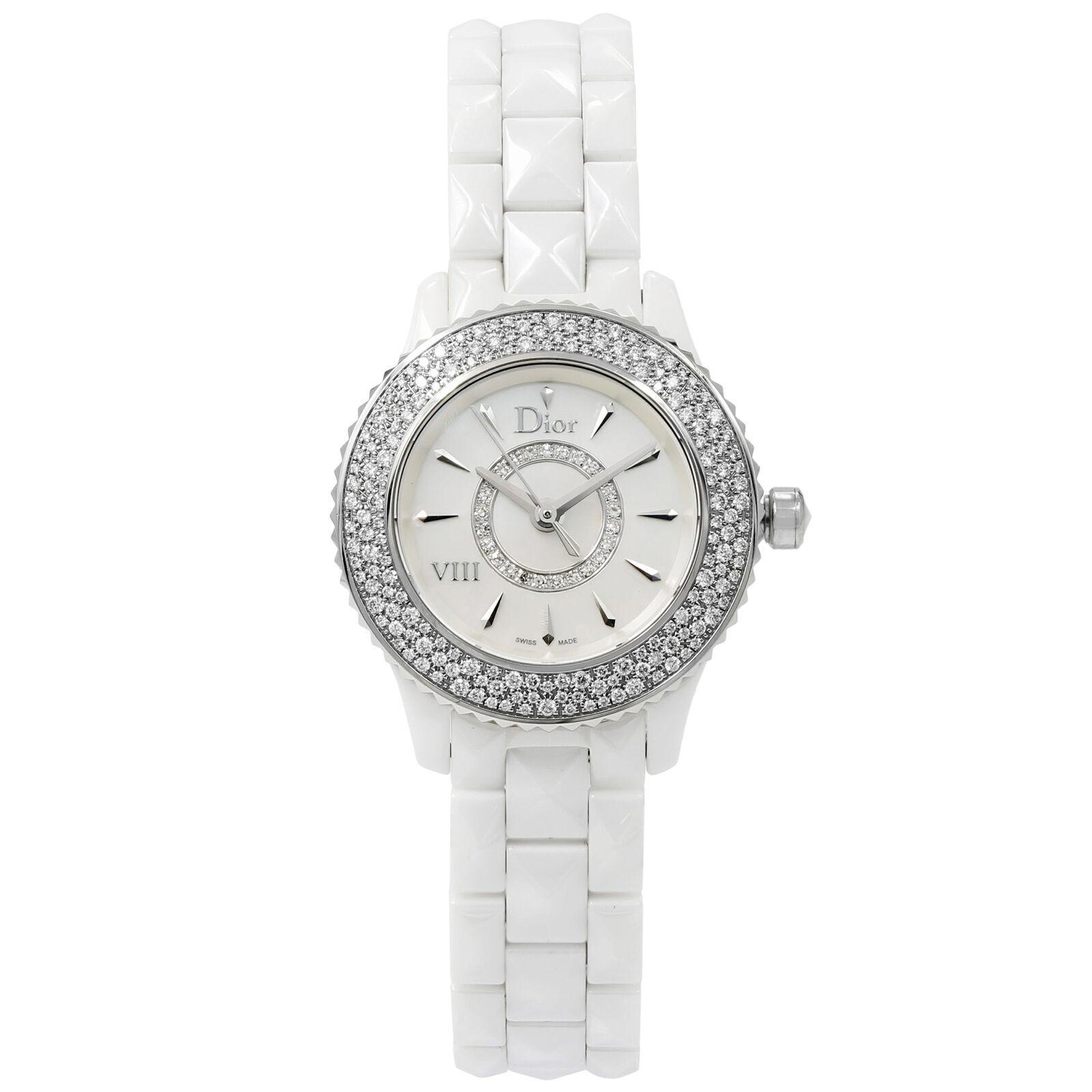 Christian Dior VIII White Ceramic Diamonds Quartz Ladies Watch CD1221E4C001 - $2,819.06