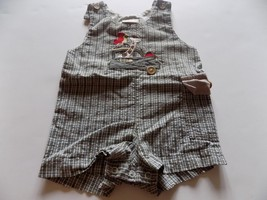 Size 18 Months Baby Togs Army Green White Gingham Safari Romper Shortalls Used - $8.00