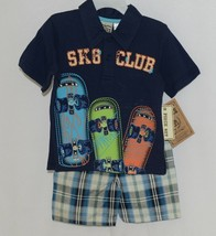 Little Rebels SK8 Club Polo Shirt Short Set Blue Plaid Size 12 Months image 1