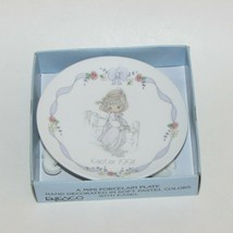 PRECIOUS MOMENTS EASTER 1991 MINI PORCELAIN PLATE & EASEL HAND DECORATED... - $9.99