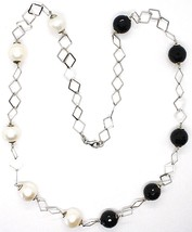 Silver necklace 925, Onyx Black Faceted, Pearls, 62 CM, Chain Diamonds image 2