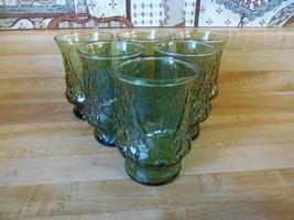 6 Anchor Hocking glasses, Rain Flower, Vintage Green Glass Tumbler Crinkle Glass - $20.00