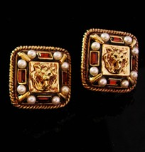Vintage Couture earrings - St John Lion clip on - pearl and rhinestone m... - $95.00