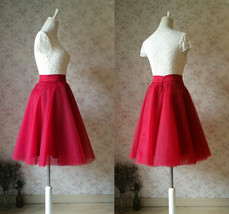 Women Knee Length Tulle Skirt Knee Full Circle Tulle Skirt Party Skirt- Red,Gray image 5