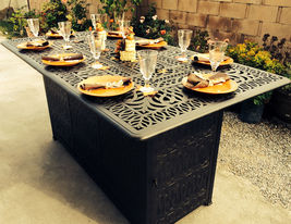 Outdoor Propane Fire Pit bar height double burner table Elisabeth aluminum patio image 3