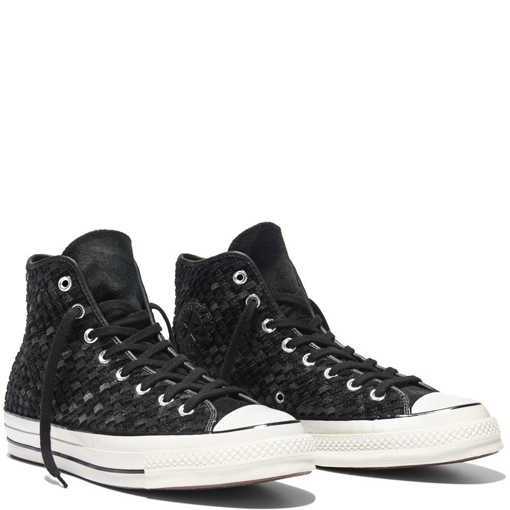 Converse Men's Chuck Taylor All Star 70, WOVEN SUEDE-BLACK/WHITE, 7 M US