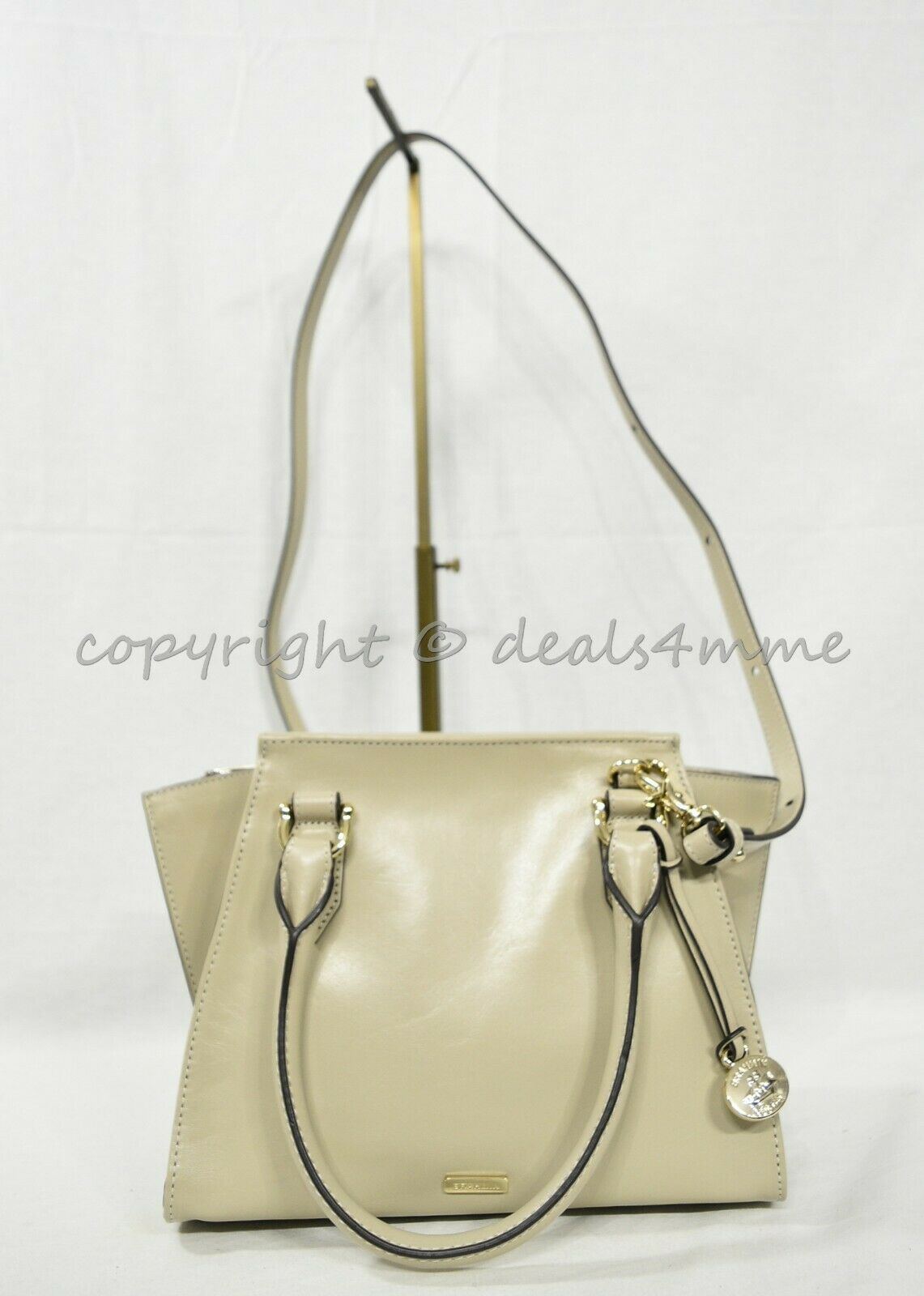 NWT Brahmin Mini Priscilla Smooth Leather Satchel/Shoulder Bag in Sand Topsail image 3