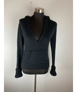 Active Basic Womens Sweater L Large Black Hooded Wool Blend - $24.74