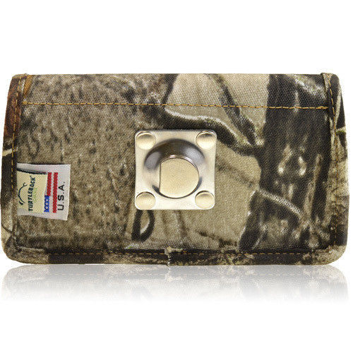 Camo Rugged Nylon Side Metal Clip Case fits Zte Fanfare 3 (Cricket) with a cover