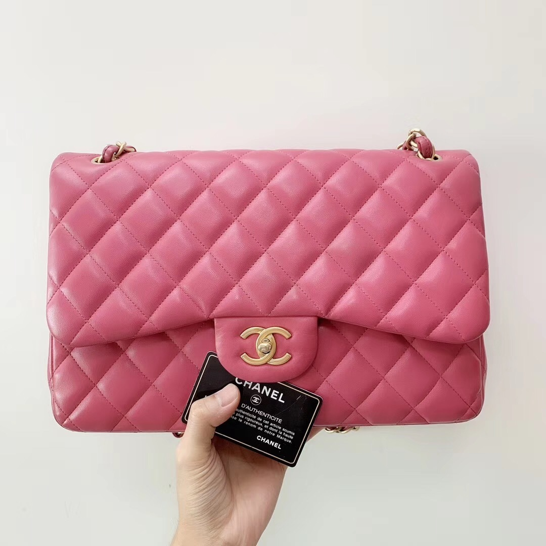 AUTHENTIC CHANEL PINK QUILTED LAMBSKIN JUMBO CLASSIC DOUBLE FLAP BAG GHW